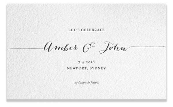 Letterpress Save the Date - Amber & John