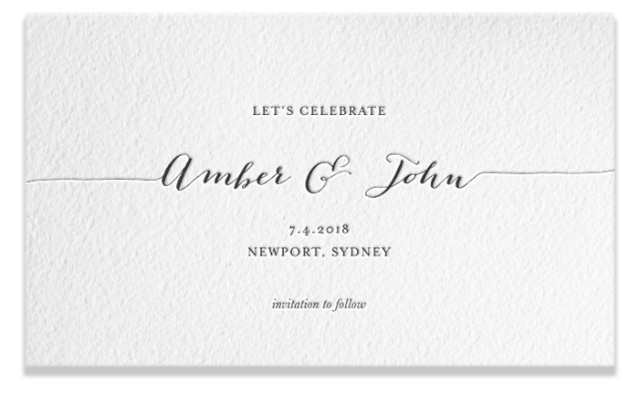 Letterpress Save the Date - Amber & John