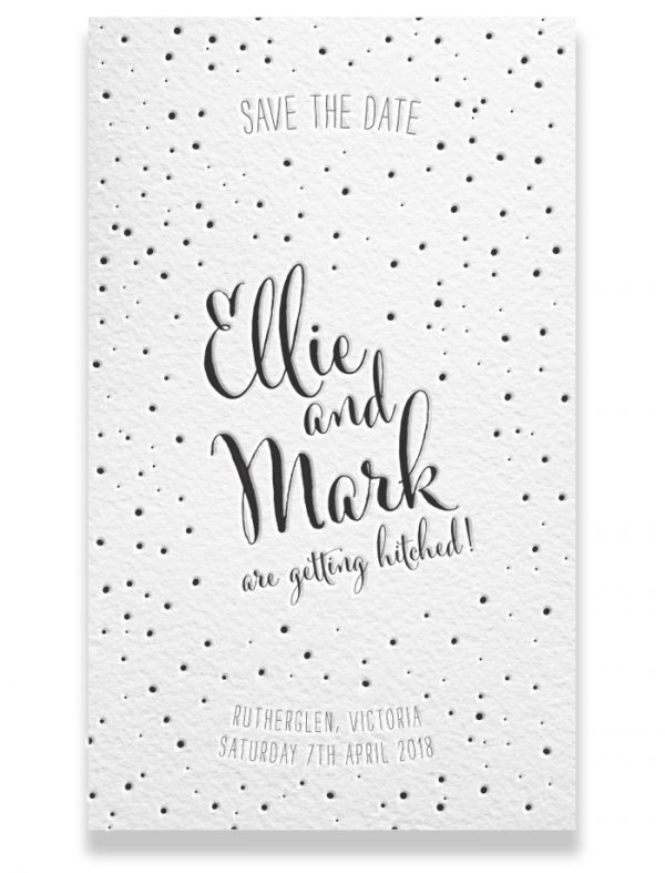Letterpress Save the Date - Ellie & Mark