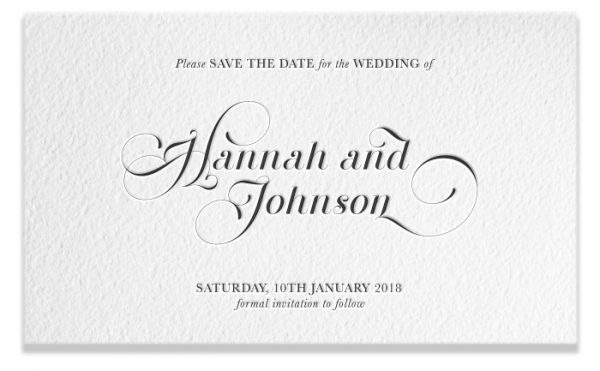 Letterpress Save the Date - Hannah & Johnson