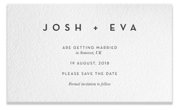 Letterpress Save the Date - Josh & Eva
