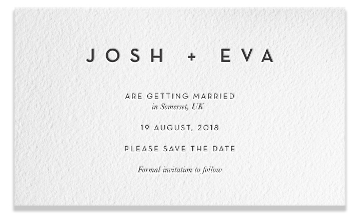 Letterpress Save the Date - Josh & Eva