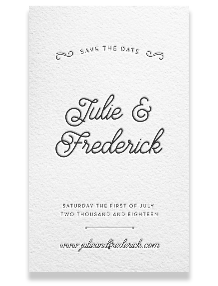 Letterpress Save the Date - Julie & Frederick
