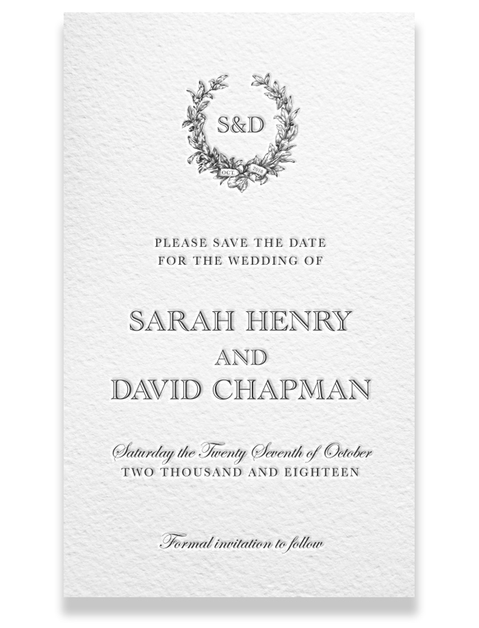 Letterpress Save the Date - Sarah & David