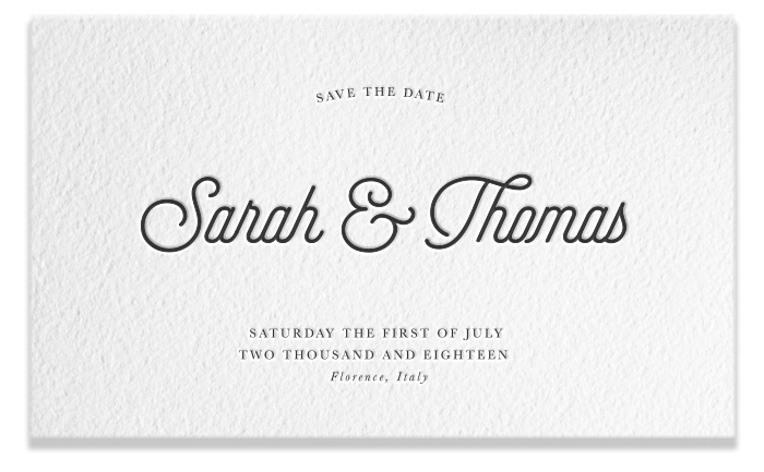 Letterpress Save the Date - Sarah & Thomas