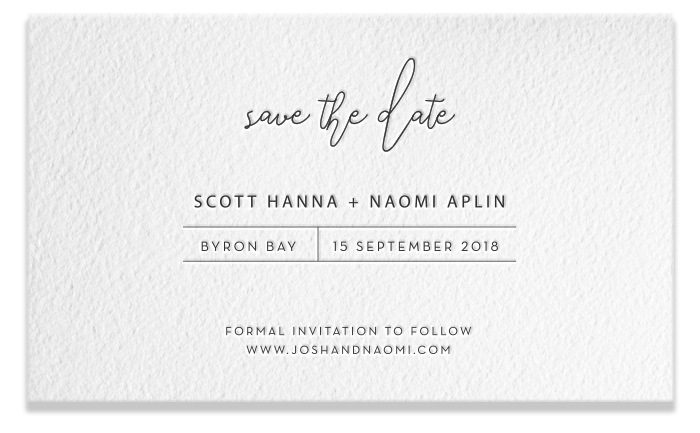 Letterpress Save the Date - Scott & Naomi