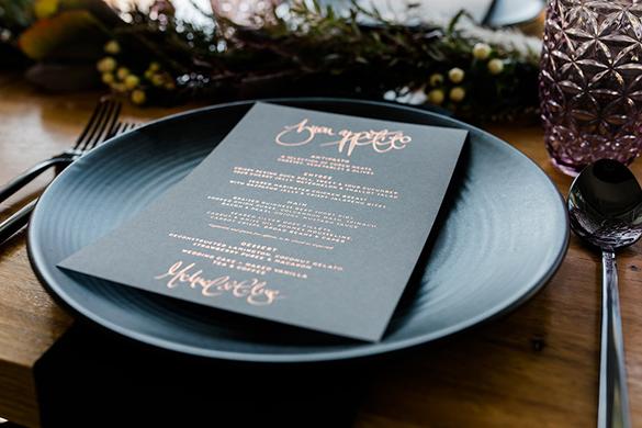 copper-foil-menu-wedding-photography