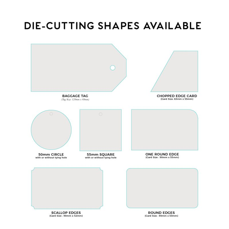 A range of knives available for die-cutting your business cards