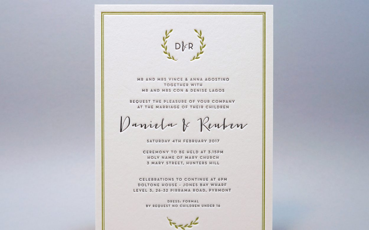 Letterpress Wedding Invitations Green Cordenons Wild Lettra Wreath