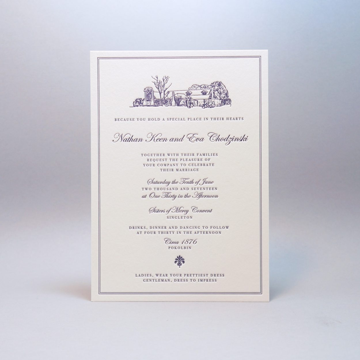 Letterpress-wedding-invitations-purple-crane-lettra-illustration