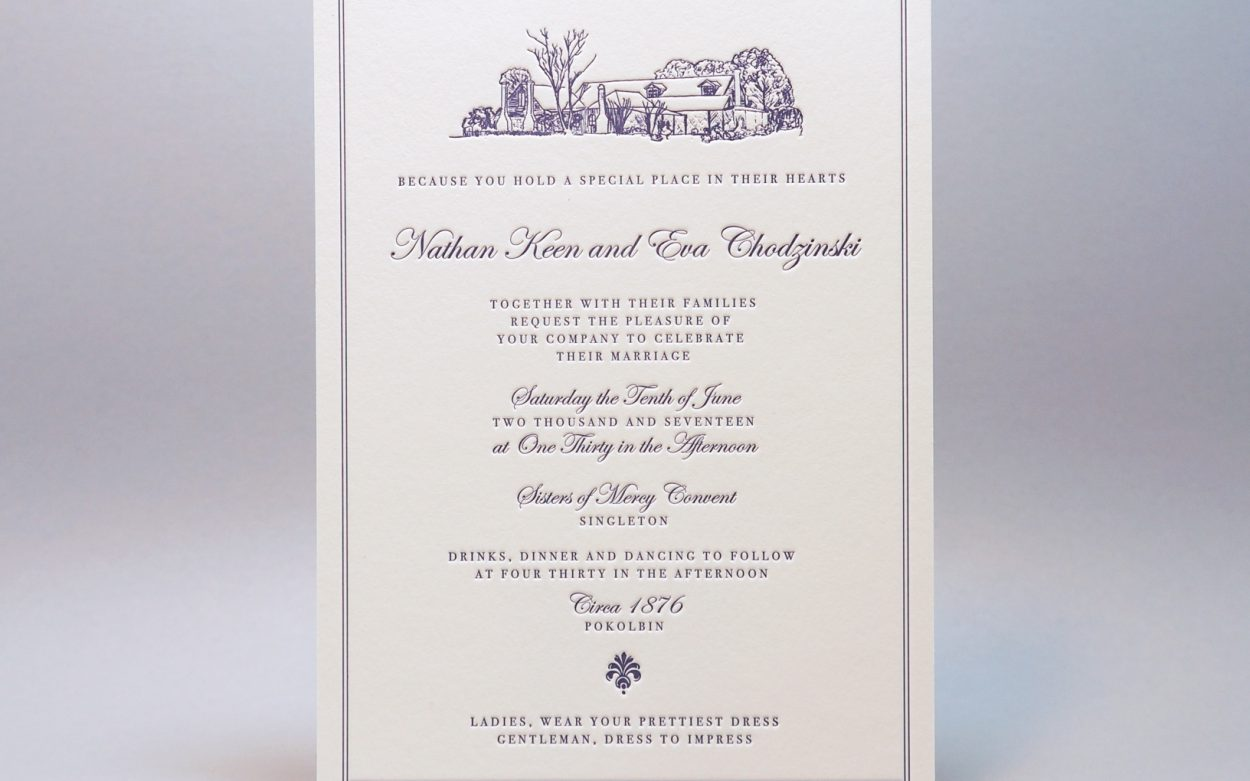 Letterpress-wedding-invitations-purple-crane-lettra-illustration